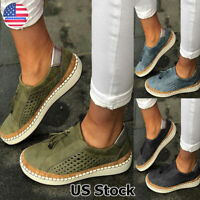 US Women Casual Suede Shoes Plimsolls Flats Slip On Loafers Sneakers Pumps Shoes