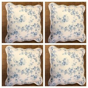 4x Blue  Printed Jasmine Cushions Floral Cushion Covers Inserts RRP £40