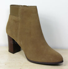 New M&S Real SUEDE LEATHER High Heel ANKLE BOOTS ~ Size 6 WIDE ~ Light Brown