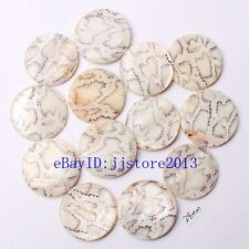 """28mm Natural Mixedcolor Shell MOP Coin Shape Gemstone Loose Beads Strand 15"""""""