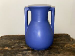 Excellent Antique Teco Pottery Matte Blue Architectural Vase Shape 403 8""
