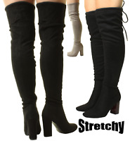 New Ladies Womens Pirate Over The Knee Wide Stretchy Fit Suede High Heel Boots