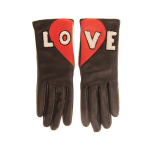 RRP€120 AGNELLE Leather Gloves Size 6.5 / XXS HANDMADE Shearling 'LOVE' Patches