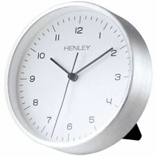 Henley Brushed Aluminium Case Table or Wall Clock White Dial 15cm