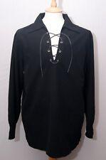 """Broadsword black polyester Scottish Jacobite ghillie kilt shirt S 38"""" 97cm"""