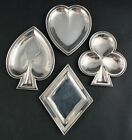 RARE Set 4 Antique Tiffany Co Sterling Silver Bridge Set Dish Playing Card Suits