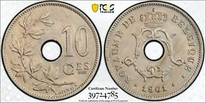 1901 Belgium 10 Centimes PCGS MS65 Registry Coin KM48 Monogram