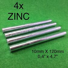4x Pure Zinc Rods Purity Zn 99.9% Anode Metal Plating Round Bar 10mmx120mm