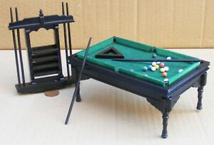 1:12 Scale Black Pool Table With Balls & Cues Tumdee Dolls House Pub Snooker 996