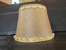VINTAGE MICA STYLE TABLE LAMP SHADE W/ CLOTH FRINGE & SPIDER HOLDER  3311