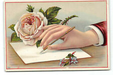 Victorian Trade Card-Large Hand-Writing Pen-Rose-Antique
