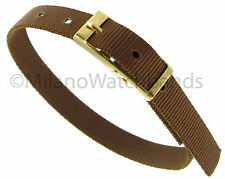 8mm Sport Strap Wrap Thin Nylon Buckle Solid Brown Replacement Watch Band