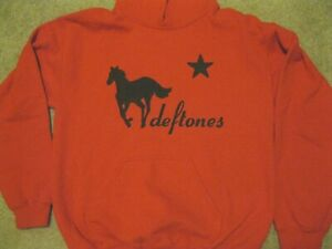 HAND CRAFTED Deftones Band Sweatshirt Hoodie Red White Pony Rock Metal Rare Vtg