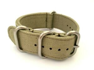 20/22/24mm Canvas Watch Strap Band with Brush Finish Stainless Steel Buckles