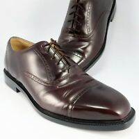 Rockport WAISTFIELD Cap-Toe Oxfords Mens Size 9W Burgundy Leather Lace-Up Shoes
