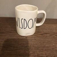 "New! Rae Dunn Magenta ""WISDOM"" Mug Large Letter LL RARE Coffee"