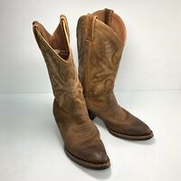 Justin Bentrail Brown Distressed Leather Mid Pull On Womens Cowboy Boots Sz 7B