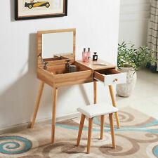 NEW Wooden Dressing Table Jewellery Makeup Desk Mirror Storage Vanity Set Table