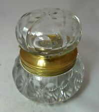 Quality Antique Cut Glass Inkwell AF 9.3cm Height 904g A604617