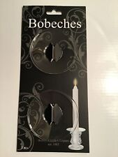 "Set of 2 Bobeches 2.6"" D Glass Taper Candle Ring Clear-Hosley Candle Co New"