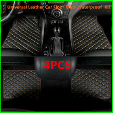 Universal Leather Car Floor Mats Quilted Design Waterproof Liners Carpets Kit