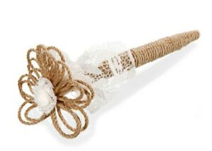 David Tutera Jute and Lace Wedding Pen with Flower Guest Book Accent New