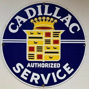 Cadillac Authorized Service reproduction advertising porcelain sign Ande Rooney