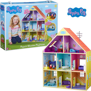Peppa Pig Peppa's Wooden Playhouse Playset & Figures, 8 Room House New Xmas Toy