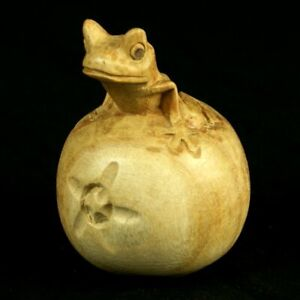 Frog Ornament Handmade Wood Carving. Frog On Apple - Ethical Gift Idea