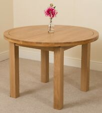 Edmonton Solid Oak Wood Oval 110 - 140cm Extending Dining Room Table Furniture