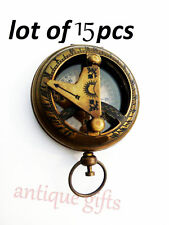 15 PCS VINTAGE BRASS ANTIQUE MADE PUSH BUTTON SUNDIAL COMPASS ANTIQUE STYLE GIFT