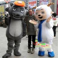 Pleasant Goat And Big Wolf Mascot Costume Advertising Parade Suit Outfit Hot Big
