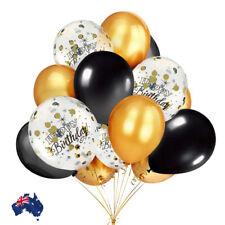 Balloons Bouquet Happy Birthday Black Metallic Gold Confetti Helium  Wedding