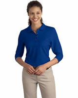 Port Authority Women's Casual Double Needle 3/4 Sleeve Polo Shirt. L562