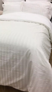 New FRETTE Sophia Collection 100%Cotton Tuxedo Stripe Queen Duvet Cover 2 Shams