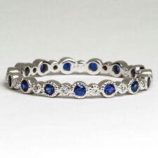 ROYAL BLUE SAPPHIRE ROUND ETERNITY BAND DIAMOND COCKTAIL RING MILGRAIN 14K SZ 8