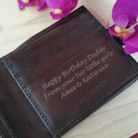 BROWN Personalised Engraved Men's Leather Wallet Birthday Gift Dad Brother