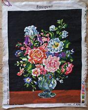 Vintage Bouquet Roses Flower Floral Vase Black Back Needlepoint Cross Stitch