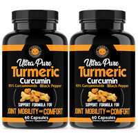 Ultra Pure Turmeric Curcumin 95% w  Black Pepper Anti Inflammatory Health 2PK
