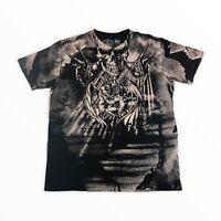 Affliction Black/Gray Distressed Graphic Short Sleeve T-Shirt Men's Sz 2XL
