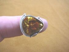 (PR-9.25-2) ORANGE AMBER Poland .925 Sterling SILVER pear leaf RING size 9.25