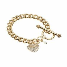 NWT JUICY COUTURE GOLD-TONE PAVE HEART CHARM TOGGLE BRACELET