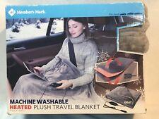 New Members Mark Washable Heated Plush Travel Blanket/ Throw Gray
