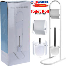 TOILET BRUSH AND PAPER HOLDER BATHROOM ROLL STAND FREE STANDING WHITE METAL NEW
