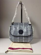 Tory Burch Marion Patchwork Stripe Snake Embossed Leather Navy/White Saddle Bag