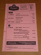 Kitty Kallen/Bill Haley/Brenda Lee 1957 Brunswick Records Release Sheet