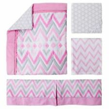 Circo Pink Zzzz's 4pc Crib Bedding Set pink gray  Chevron Baby Nursery Girl NEW