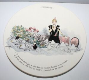 """Antique SARRAGUEMINES French Plate """"PERPLEXITE"""" Lady & Dinner Party lot m"""