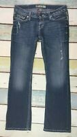 BKE BUCKLE WOMENS Sabrina Boot JEANS 28X29.5  Dark Wash WHISKERED DISTRESSED