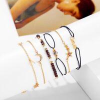 Anklet Beaded Bohemian Foot Beach Jewelry Cord Lace Boho Wrist Bracelet 5 Pcs